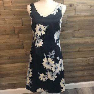 Loft V Neck Black, Floral Print Shift Dress Size 4